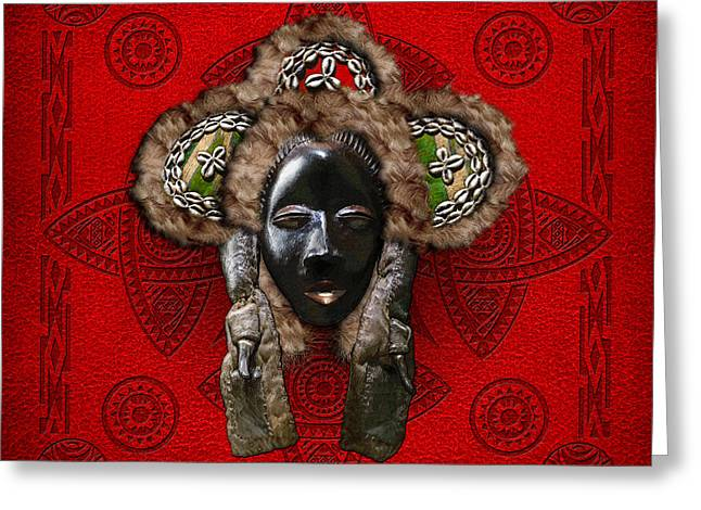 African Heritage Greeting Cards - Dan Dean-Gle Mask of the Ivory Coast and Liberia on Red Leather Greeting Card by Serge Averbukh