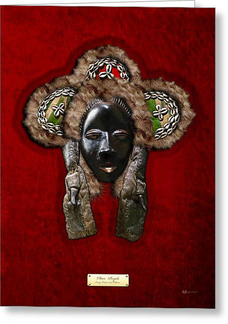 African Heritage Greeting Cards - Dan Dean-Gle Mask of the Ivory Coast and Liberia on Red Velvet Greeting Card by Serge Averbukh