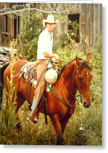Portrait With Mountain Greeting Cards - Dan Fogelberg Riding by the Old Schoolhouse Greeting Card by Anastasia  Ealy