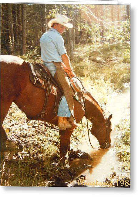 Portrait With Mountain Greeting Cards - Dan Fogelberg Scenes from A Western Romance I Greeting Card by Anastasia  Ealy