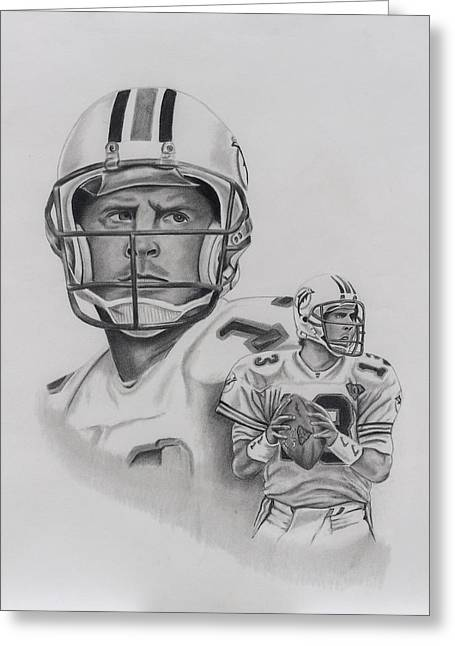 Pro Football Drawings Greeting Cards - Dan Marino Greeting Card by Billy Burdette