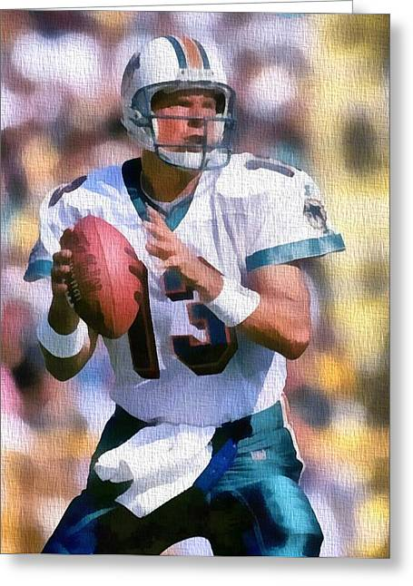 National Mixed Media Greeting Cards - Dan Marino Canvas Greeting Card by Dan Sproul