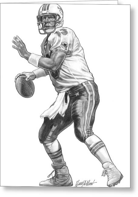 Fame Drawings Greeting Cards - Dan Marino QB Greeting Card by Harry West