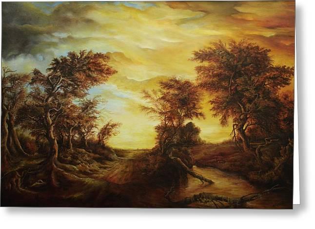 Dan Scurtu - Forest At Sunset Greeting Card by Dan Scurtu