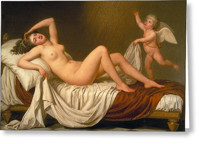 Danae Paintings Greeting Cards - Danae and the Shower of Gold Greeting Card by Adolf Ulrik Wertmueller