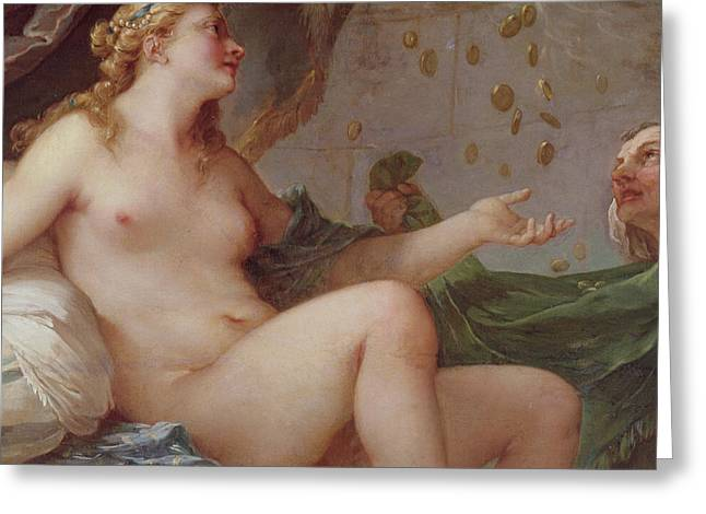 Danae Greeting Cards - Danae Receiving the Shower of Gold Greeting Card by Charles Joseph Natoire