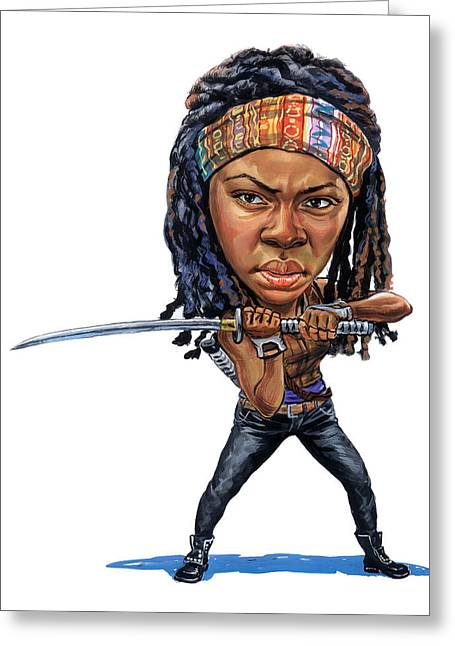 Awesome Greeting Cards - Danai Gurira as Michonne Greeting Card by Art