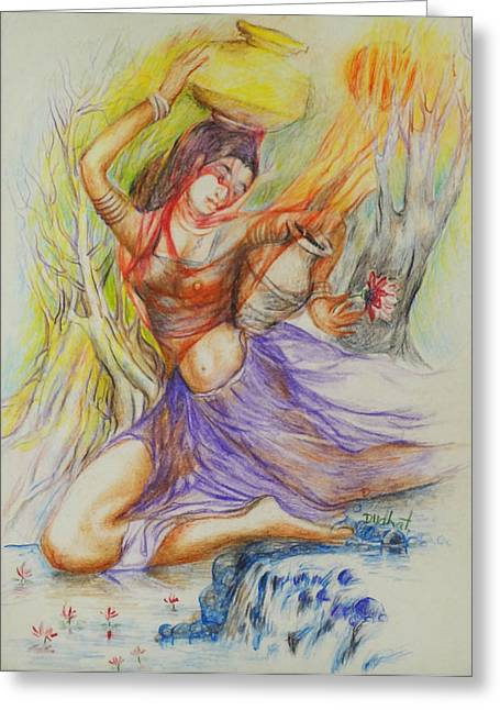 Indian Art Greeting Cards - Dance-15 Greeting Card by Bhanu Dudhat