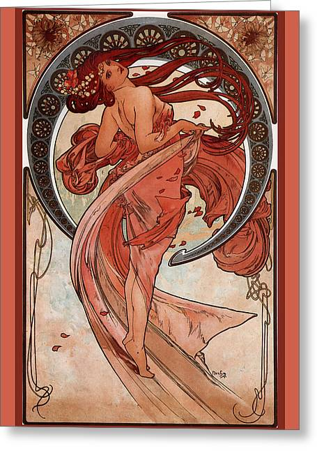 Woman In A Dress Greeting Cards - Dance Greeting Card by Alphonse Maria Mucha