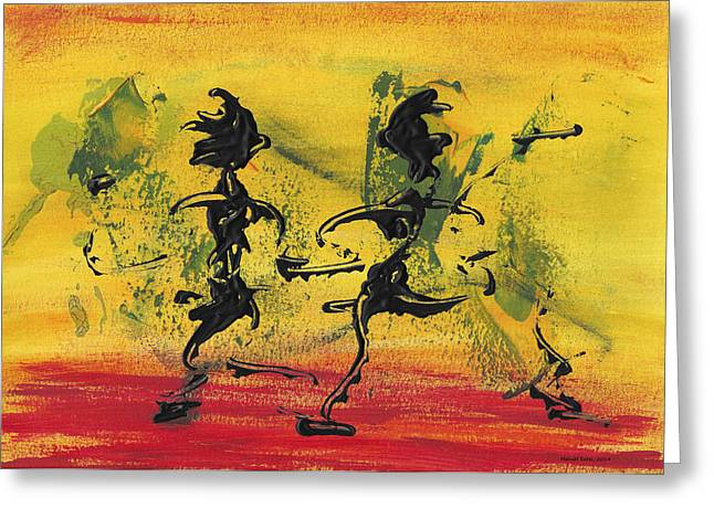 Swiss Mixed Media Greeting Cards - Dance Art Dancing Couple VIII Greeting Card by Manuel Sueess