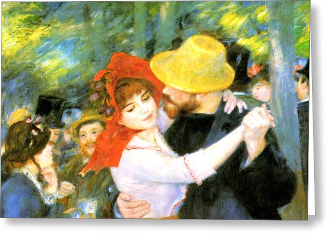 Bougival Greeting Cards - Dance At Bougival Detail Greeting Card by Pierre Auguste Renoir