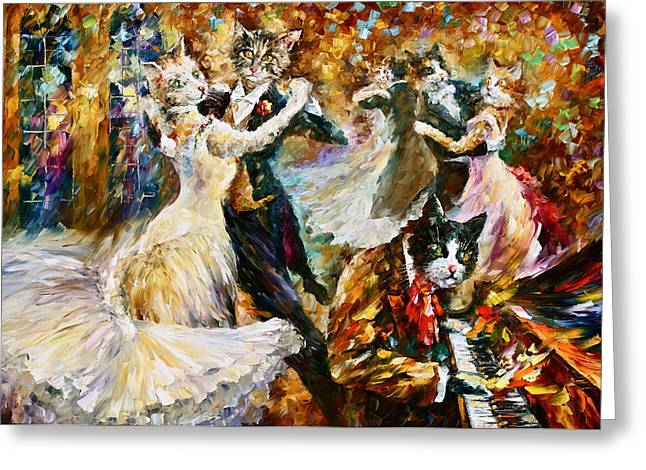 Dance Ball of Cats  Greeting Card by Leonid Afremov