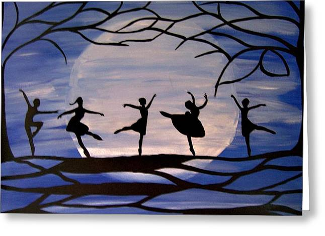 Dance By The Light Of The Moon Greeting Card by Rachel Olynuk