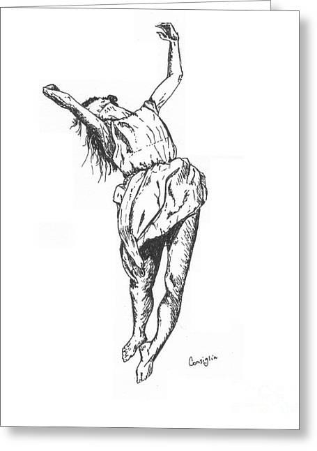 Ballet Dancers Drawings Greeting Cards - Dancing Greeting Card by Celia Fedak