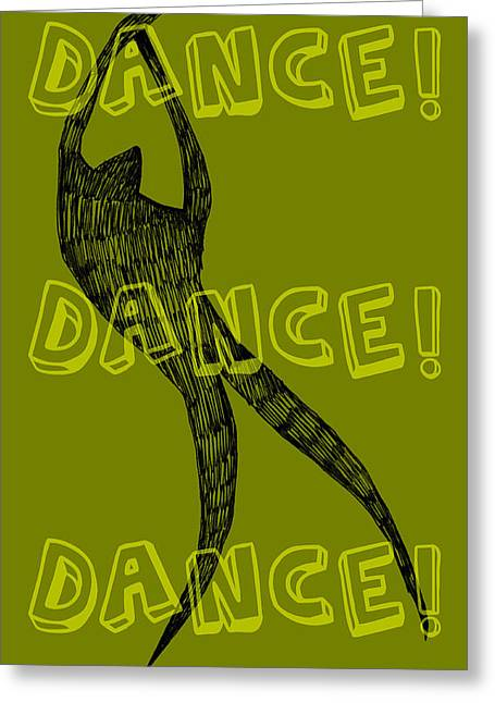Olive Green Greeting Cards - Dance Dance Dance Greeting Card by Michelle Calkins