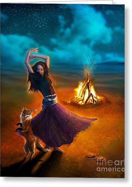 Girl Digital Greeting Cards - Dance Dervish Fox Greeting Card by Aimee Stewart