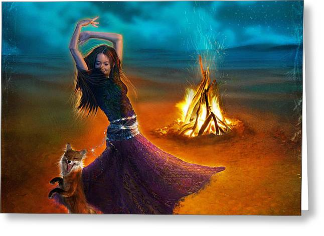 Dance Dervish Fox Greeting Card by Aimee Stewart