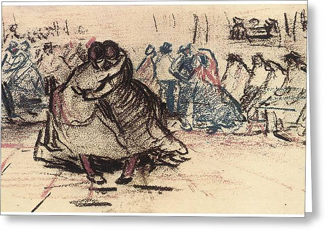 Dance Hall with Dancing Women Greeting Card by Vincent Van Gogh