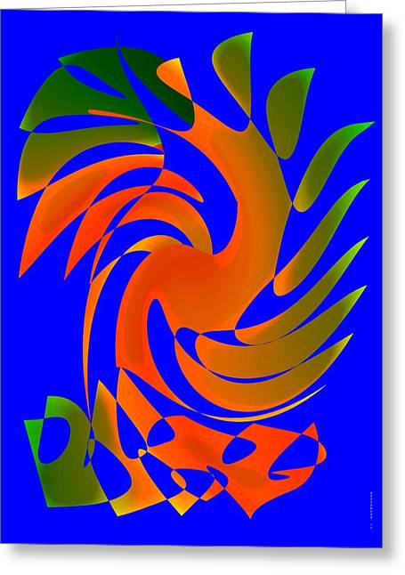 Green Surreal Geometry Greeting Cards - Dance in Geometric Art Greeting Card by Mario  Perez