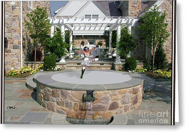 Statue Portrait Greeting Cards - Dance near the fountain DNTF1 Greeting Card by Pemaro