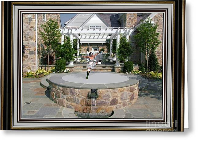 Statue Portrait Greeting Cards - Dance near the fountain DNTF2 Greeting Card by Pemaro