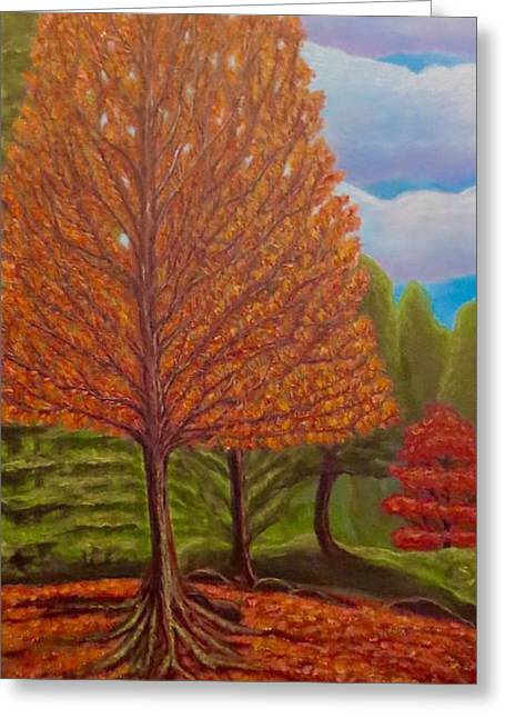 Tree Roots Paintings Greeting Cards - Dance of Autumn Gold With Blue Skies I Greeting Card by Kimberlee  Baxter