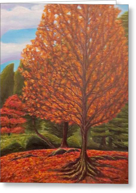 Tree Roots Paintings Greeting Cards - Dance of Autumn Gold with Blue Skies II Greeting Card by Kimberlee  Baxter
