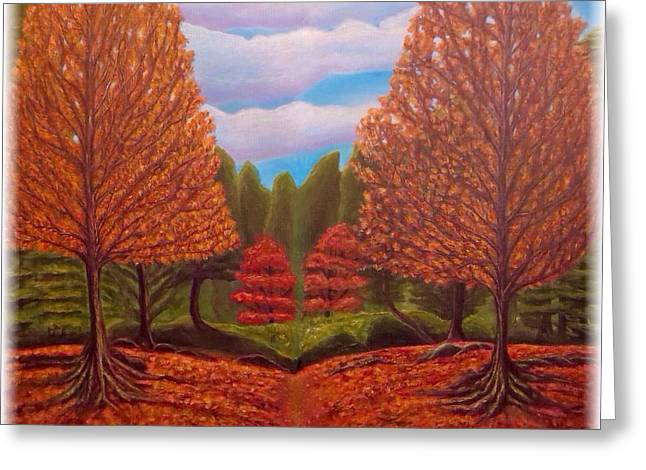 Tree Roots Paintings Greeting Cards - Dance of Autumn Gold with Blue Skies Revised Greeting Card by Kimberlee  Baxter