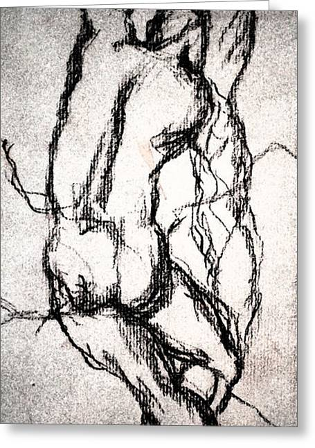 Transfer Drawings Greeting Cards - Dance of man. Greeting Card by Steven Clayton