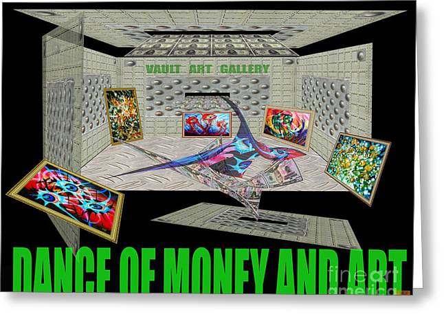 """photo Manipulation"" Paintings Greeting Cards - Dance of Money and Art-Poster Greeting Card by Dariush Alipanah- Jahroudi"