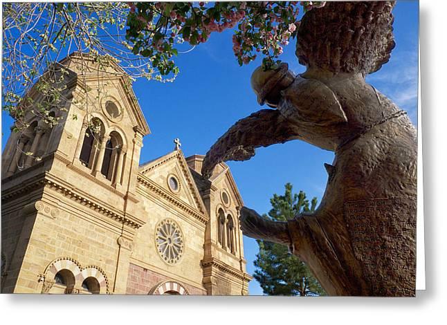 Southwest Church Greeting Cards - Dance of St. Francis Santa Fe NM Greeting Card by Mary Lee Dereske