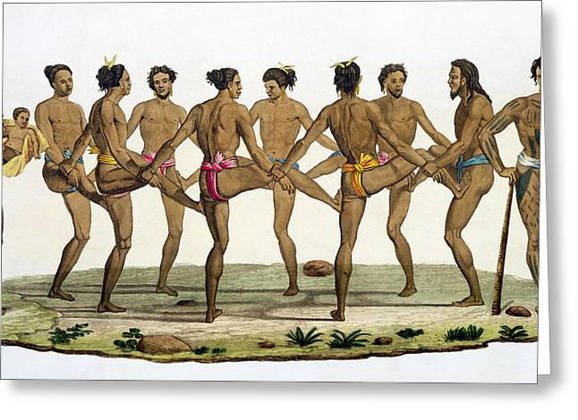 Dance Of The Caroline Islanders, Plate Greeting Card by Felice Campi