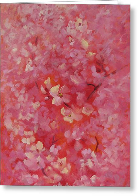 Cherry Blossoms Paintings Greeting Cards - Dance of the Cherry Blossoms Greeting Card by Karin  Leonard