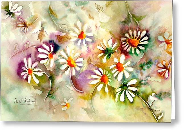 Floral Greeting Cards - Dance of the Daisies Greeting Card by Neela Pushparaj