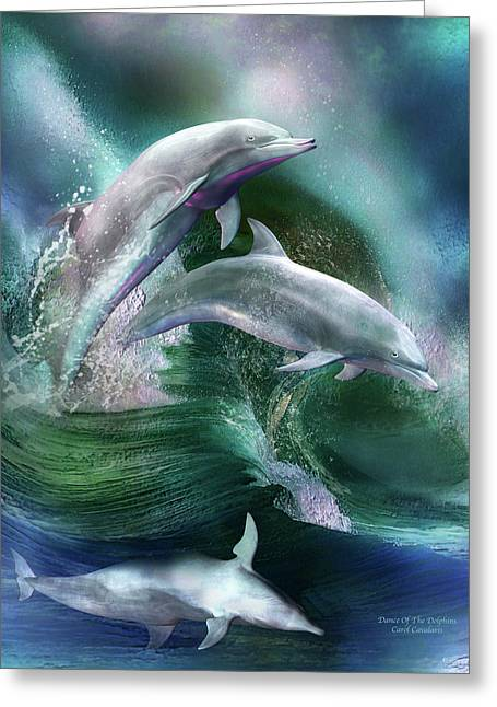 Sea Life Mixed Media Greeting Cards - Dance Of The Dolphins Greeting Card by Carol Cavalaris