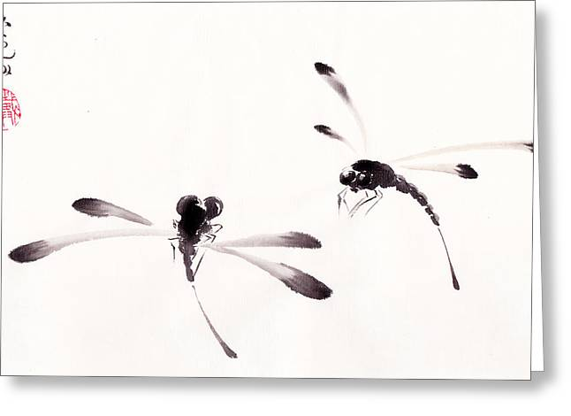 E Black Greeting Cards - Dance of the Dragonflies Greeting Card by Oiyee  At Oystudio