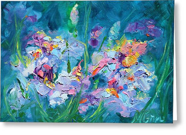 Marie Green Greeting Cards - Dance of the Iris Greeting Card by Marie Green