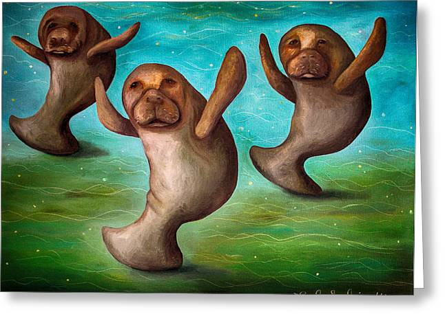 Manatee Greeting Cards - Dance Of The Manatees edit 3 Greeting Card by Leah Saulnier The Painting Maniac