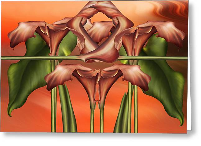 Dance Of The Orange Calla Lilies II Greeting Card by Georgiana Romanovna