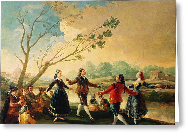 Dancing Greeting Cards - Dance On The Banks Of The River Manzanares, 1777 Oil On Canvas Greeting Card by Francisco Jose de Goya y Lucientes