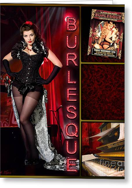 Lindalees Greeting Cards - Dance series - Burlesque Greeting Card by Linda Lees