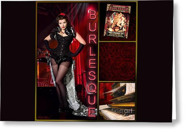 Dance Series - Burlesque Greeting Card by Linda Lees