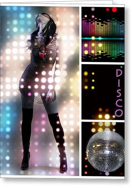 Dance Series - Disco Greeting Card by Linda Lees