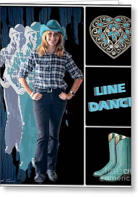 Boots Digital Art Greeting Cards - Dance series - Line Dance Greeting Card by Linda Lees