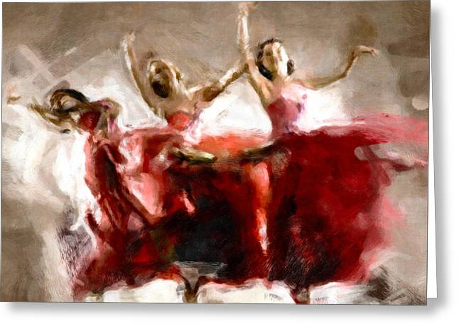 Abstract Fashion Designer Art Greeting Cards - Dance The Hours Away Greeting Card by Georgiana Romanovna