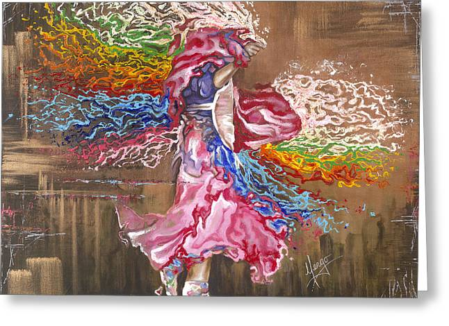 Native American Woman Greeting Cards - Dance through the color of life Greeting Card by Karina Llergo Salto