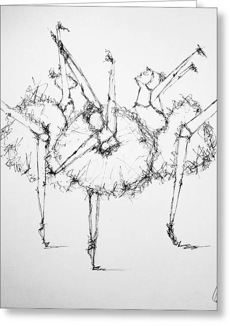 Ballet Dancers Drawings Greeting Cards - Dance Trio Greeting Card by A
