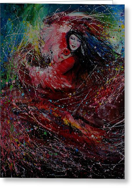 Ballerina Artwork Greeting Cards - Dance with colors Greeting Card by Isabel Salvador