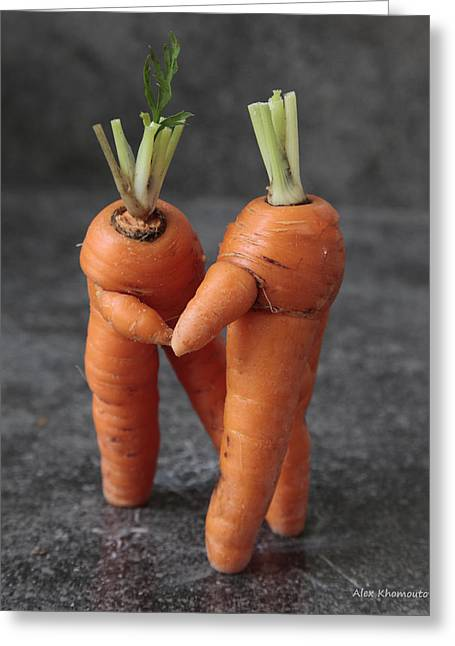 Droll Mixed Media Greeting Cards - Dance With Me - Funny Art - Comic Dancing Carrot Couple - Good Luck in Love Energy Print Greeting Card by Alex Khomoutov