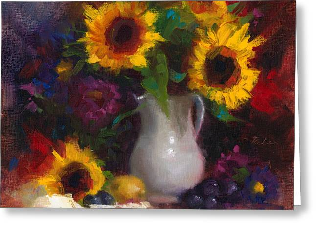Recently Sold -  - Lemon Art Greeting Cards - Dance with Me - sunflower still life Greeting Card by Talya Johnson